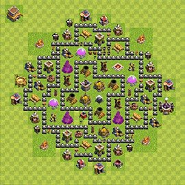 Base plan Town Hall level 8 for farming (variant 107)