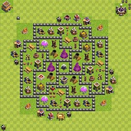 Base plan Town Hall level 8 for farming (variant 108)