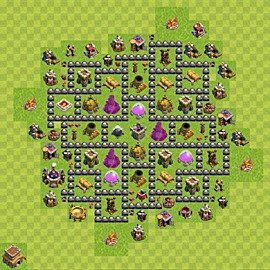 Base plan Town Hall level 8 for farming (variant 118)