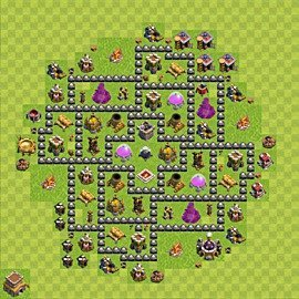 Base plan Town Hall level 8 for farming (variant 119)