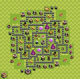 Base plan Town Hall level 8 for farming (variant 120)