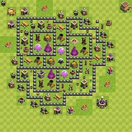 Base plan Town Hall level 8 for farming (variant 121)