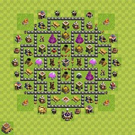 Base plan Town Hall level 8 for farming (variant 122)