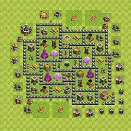 Base plan Town Hall level 8 for farming (variant 124)