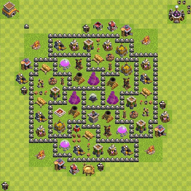 Base plan (layout) for farming TH 8 (Town Hall level 8), TH, th}), variant 108