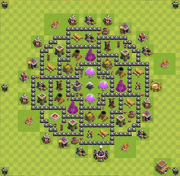 De aldea base para farming clash of clans ayuntamiento nivel 8
