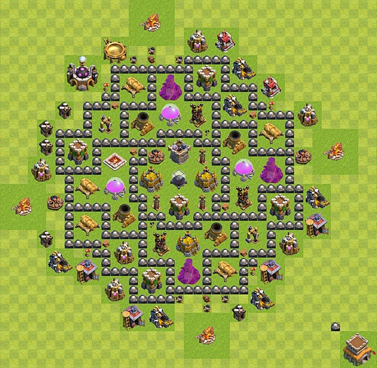 Clash of Clans base plan (layout) for farming – Town Hall level 8