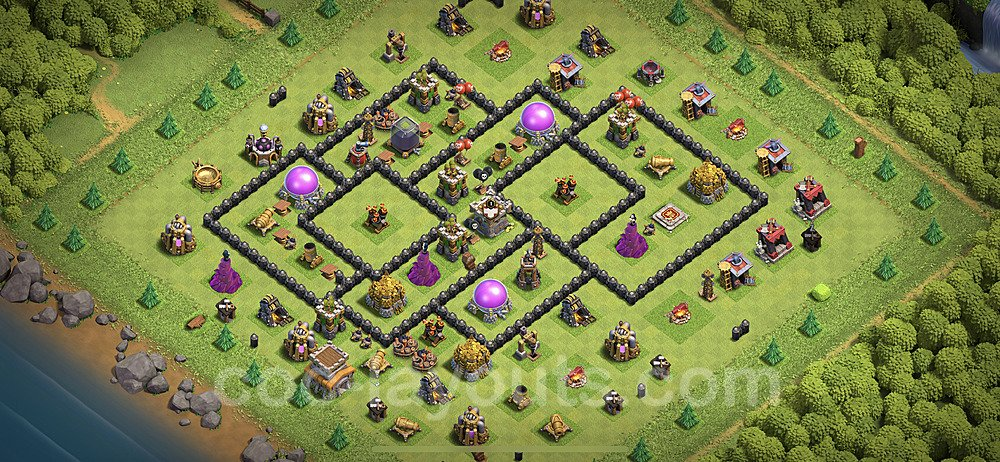 Base plan TH8 Max Levels with Link for Farming 2020, #269