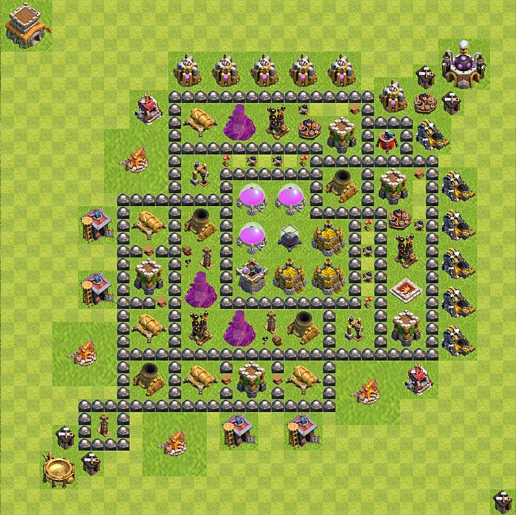 Clash of Clans base plan (layout) for farming – Town Hall