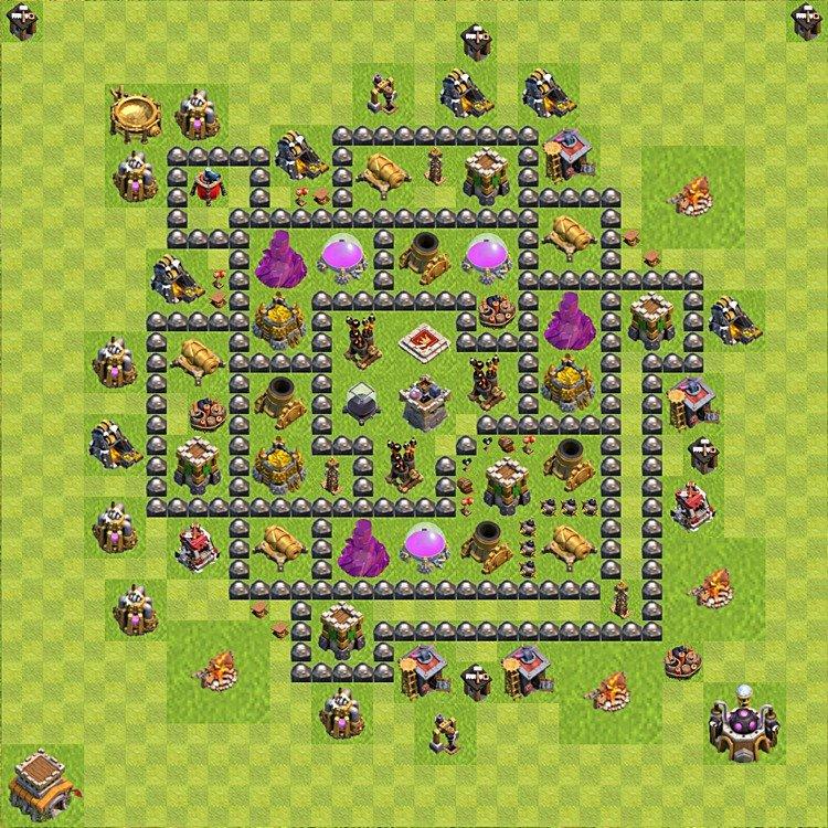 Plan de base pour farming hdv 8 h 244 tel de ville niveau 8 variante