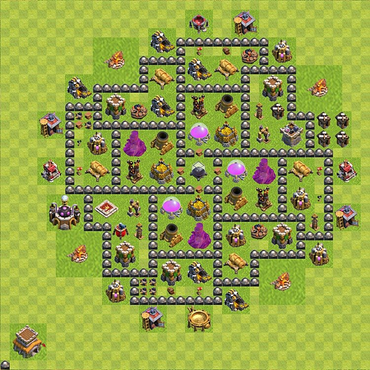 Base plan (layout) for farming TH 8 (Town Hall level 8), TH, th}), variant 94