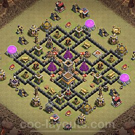 TH8 Anti 2 Stars War Base Plan with Link, Copy Town Hall 8 Design 2020, #11