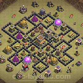 TH8 Anti 2 Stars War Base Plan with Link, Copy Town Hall 8 Design 2020, #15