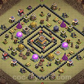 TH8 Anti 3 Stars CWL War Base Plan with Link, Copy Town Hall 8 Design 2021, #25