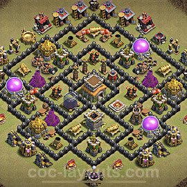 TH8 Max Levels CWL War Base Plan with Link, Copy Town Hall 8 Design 2021, #30