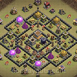 TH8 Anti 2 Stars CWL War Base Plan with Link, Copy Town Hall 8 Design 2021, #32