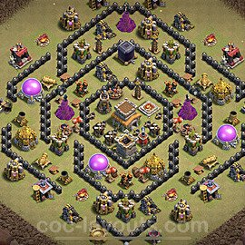 TH8 Anti 2 Stars War Base Plan with Link, Copy Town Hall 8 Design 2021, #36