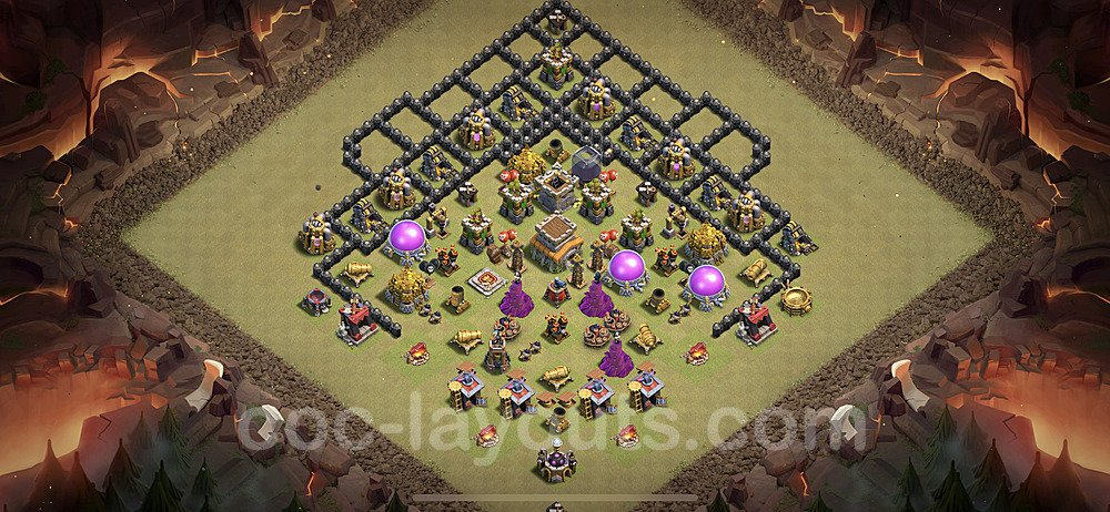TH8 Anti 3 Stars War Base Plan with Link, Copy Town Hall 8 Design 2020, #14