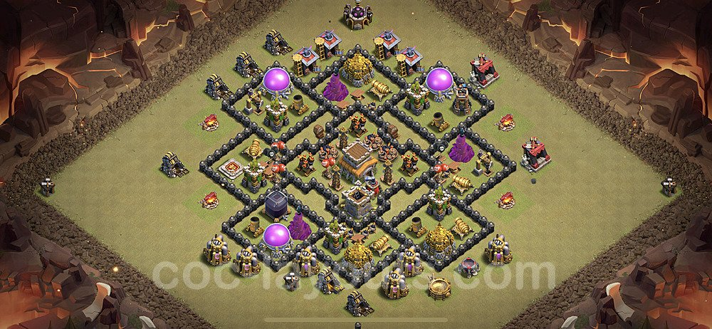 TH8 Anti 2 Stars War Base Plan with Link, Copy Town Hall 8 Design 2020, #24