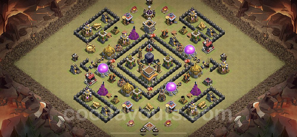 TH8 Anti 3 Stars CWL War Base Plan with Link, Copy Town Hall 8 Design 2021, #35