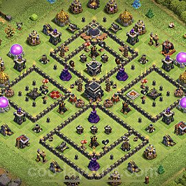 TH9 Anti 2 Stars Base Plan with Link, Copy Town Hall 9 Base Design 2020, #164