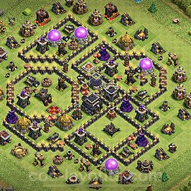 TH9 Trophy Base Plan with Link, Copy Town Hall 9 Base Design 2020, #165