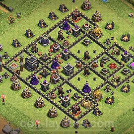 TH9 Trophy Base Plan with Link, Copy Town Hall 9 Base Design 2020, #168