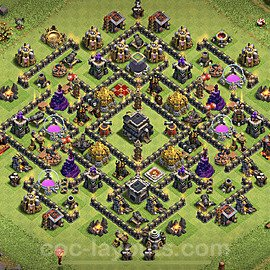 Anti Dragon TH9 Base Plan with Link, Copy Town Hall 9 Anti Air Design 2020, #171