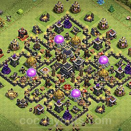 Top TH9 Unbeatable Anti Loot Base Plan with Link, Copy Town Hall 9 Base Design 2020, #173