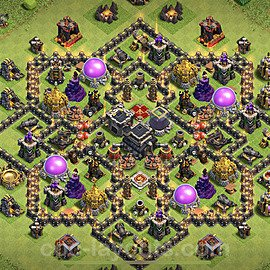 TH9 Anti 2 Stars Base Plan with Link, Copy Town Hall 9 Base Design 2021, #184