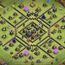 Anti Everything TH9 Base Plan with Link, Copy Town Hall 9 Design 2021, #185