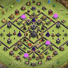 TH9 Anti 2 Stars Base Plan with Link, Copy Town Hall 9 Base Design 2021, #186