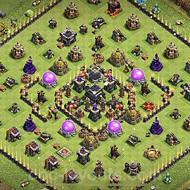 TH9 Trophy Base Plan with Link, Copy Town Hall 9 Base Design 2021, #190