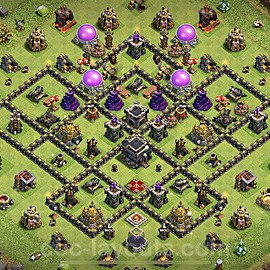 TH9 Anti 2 Stars Base Plan with Link, Copy Town Hall 9 Base Design 2021, #191