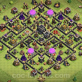 Top TH9 Unbeatable Anti Loot Base Plan with Link, Copy Town Hall 9 Base Design 2021, #192