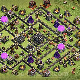 TH9 Anti 3 Stars Base Plan with Link, Copy Town Hall 9 Base Design 2021, #193