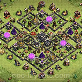 Anti Everything TH9 Base Plan with Link, Copy Town Hall 9 Design 2021, #194