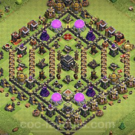 TH9 Anti 3 Stars Base Plan with Link, Copy Town Hall 9 Base Design 2021, #195