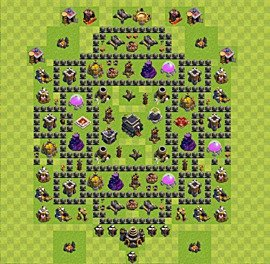 Base plan Town Hall level 9 for trophies (defence) (variant 4)