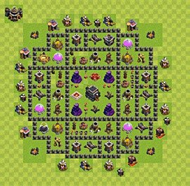 Base plan Town Hall level 9 for trophies (defence) (variant 5)