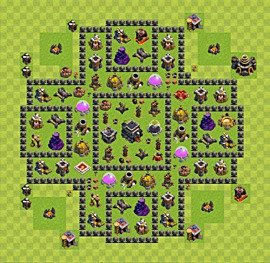 Base plan Town Hall level 9 for trophies (defence) (variant 51)