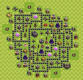 Base plan Town Hall level 9 for trophies (defence) (variant 52)