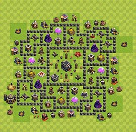 Base plan Town Hall level 9 for trophies (defence) (variant 53)