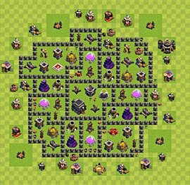 Base plan Town Hall level 9 for trophies (defence) (variant 54)