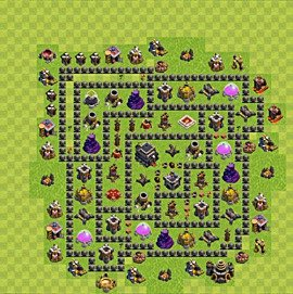 Base plan Town Hall level 9 for trophies (defence) (variant 61)