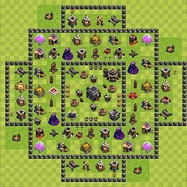 Base plan Town Hall level 9 for trophies (defence) (variant 63)