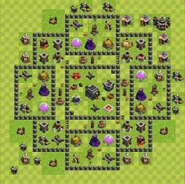 Base plan Town Hall level 9 for trophies (defence) (variant 64)
