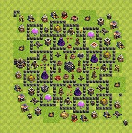 Base plan Town Hall level 9 for trophies (defence) (variant 65)