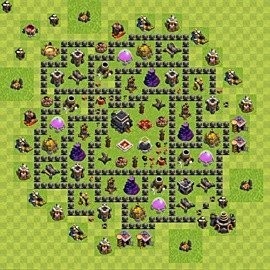 Base plan Town Hall level 9 for trophies (defence) (variant 66)