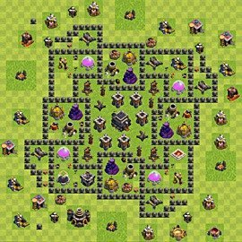 Base plan Town Hall level 9 for trophies (defence) (variant 68)